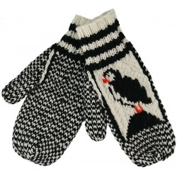 Knitted Mittens With Puffin Pattern