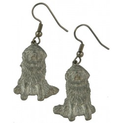Newfoundland Dog Pewter Earrings