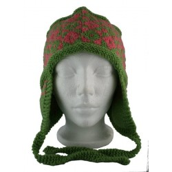 Green and Pink Wool Hat