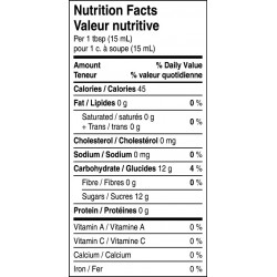 Partridgeberry sauce nutritional facts table.