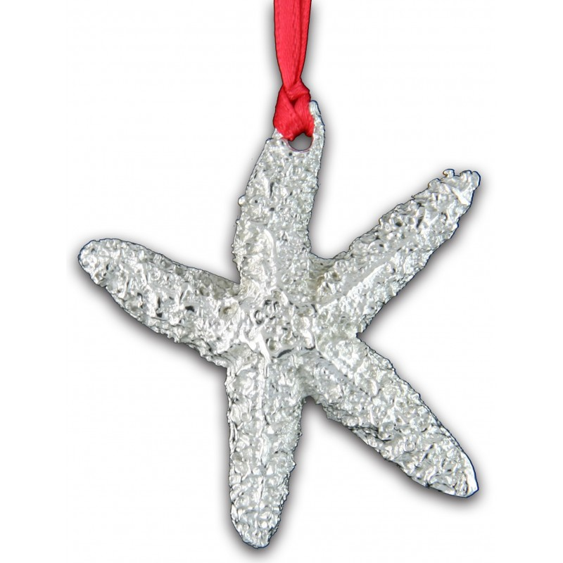 Pewter Starfish Christmas Ornament