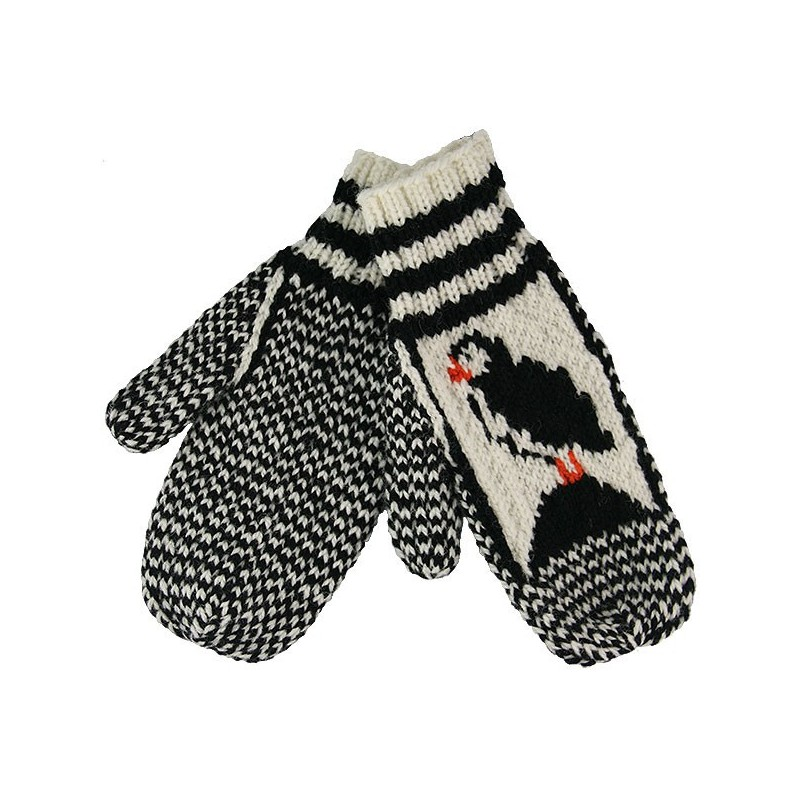 Knitted Mittens With Puffin Pattern The Dark Tickle Company