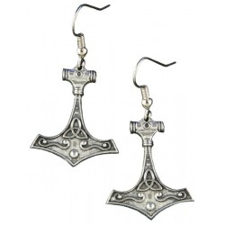 Thor's Hammer Pewter Earrings